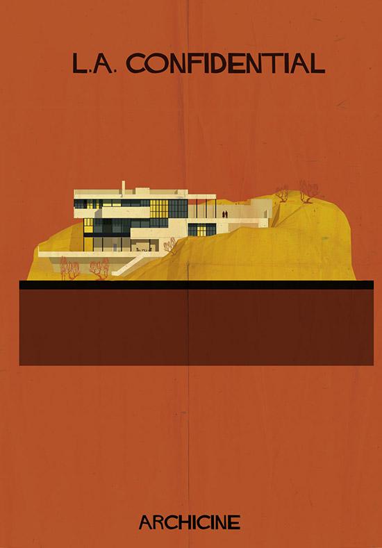 Archicine by federico babina LA confidential architecture building illustration