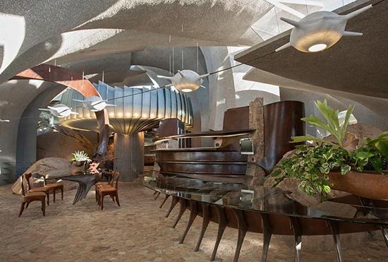 Joshua Tree supervillain house dining room by Kendrick Bangs Kellogg