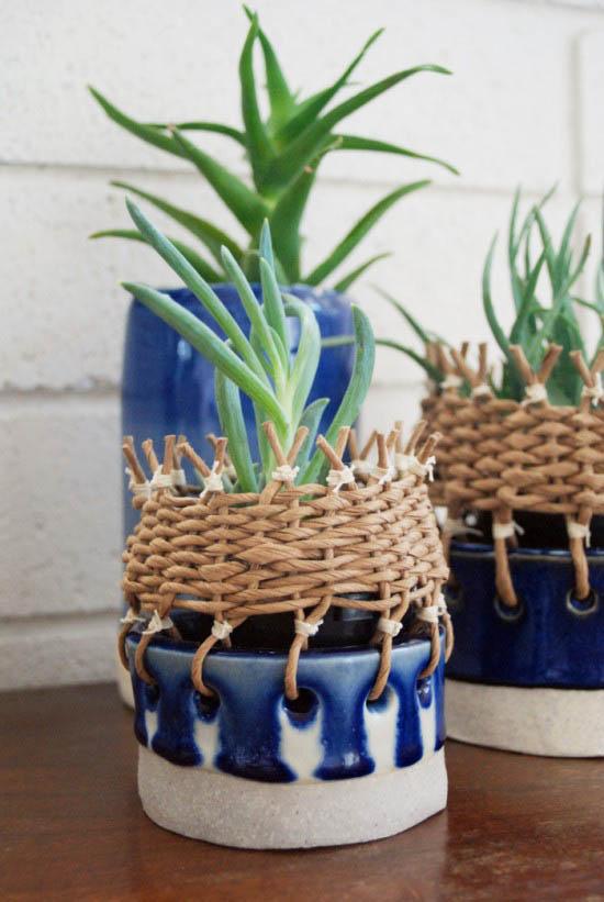 Tw workshop hand made stoneware hanging planter colbalt cane