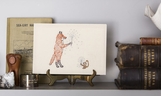 Coral and Tusk embroidered fox postcard