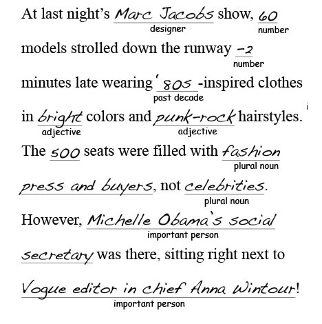 Marc Jacobs Fashion Week Mad Libs