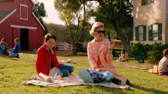 Betty Draper Francis smoking picnic with Bobby Mad Men