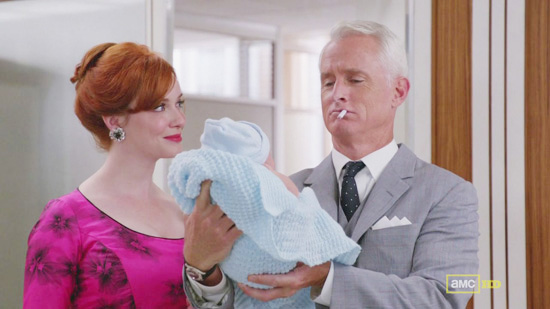 Mad Men Joan Roger and Baby Kevin