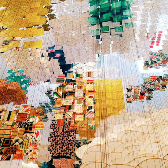 Jacob Hashimoto Gas Giant paper installation MoCA at Pacific Design Center