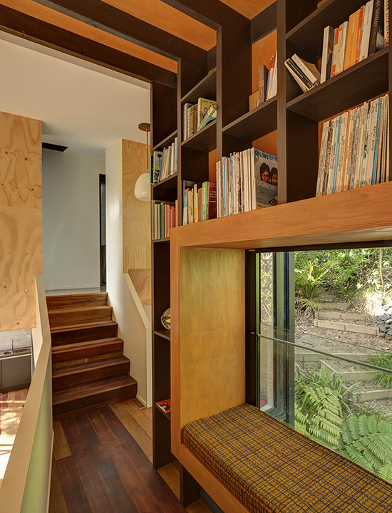 Blackpool House mid century modern design bookshelves window bench by Glamuzina Paterson Architects