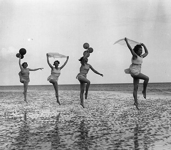 Vintage women frolicking
