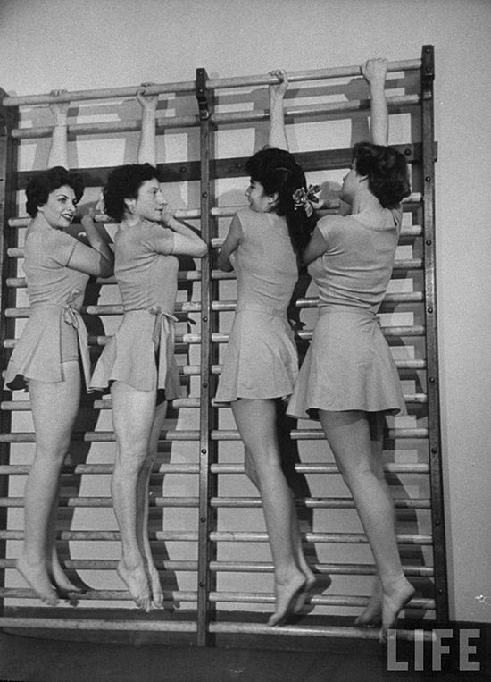 Vintage women exercising gym life magazine