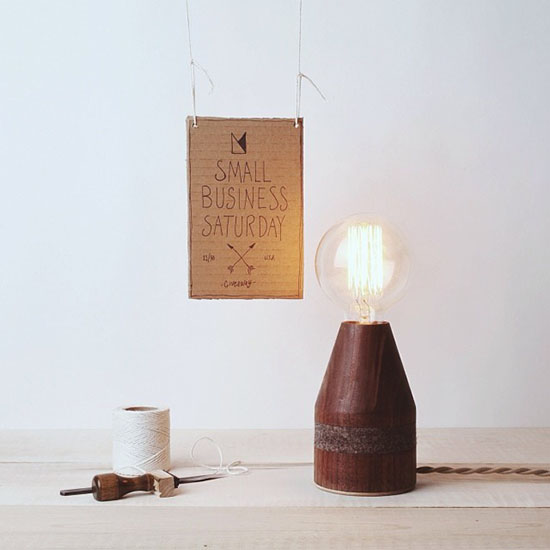 Allied maker black walnut mini dart table lamp