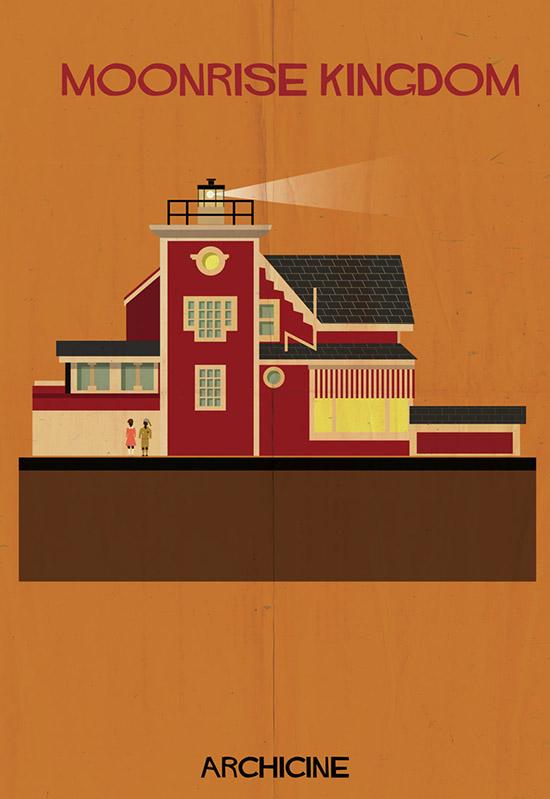 Archicine by federico babina moonrise kingdom architecture building illustration