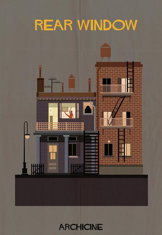 Archicine by federico babina rear window architecture building illustration