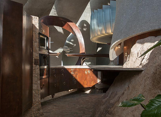 Joshua Tree supervillain house kitchen by Kendrick Bangs Kellogg