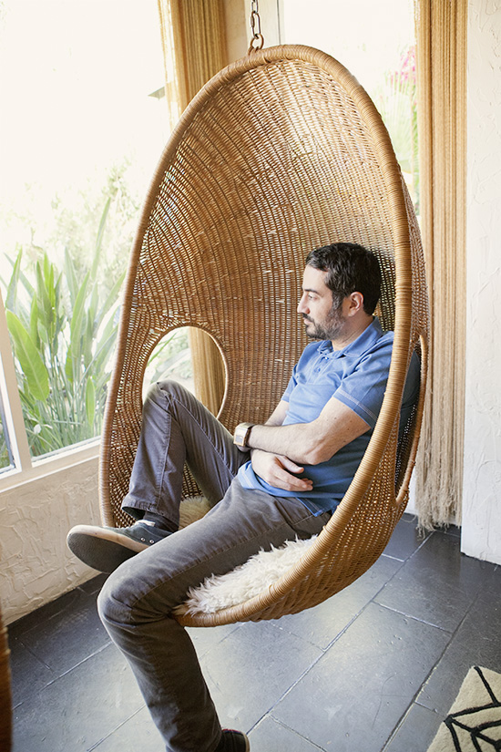 The Parker Palm Springs The Nanna Ditzel chair in the Parker Palm wicker egg suspended chair