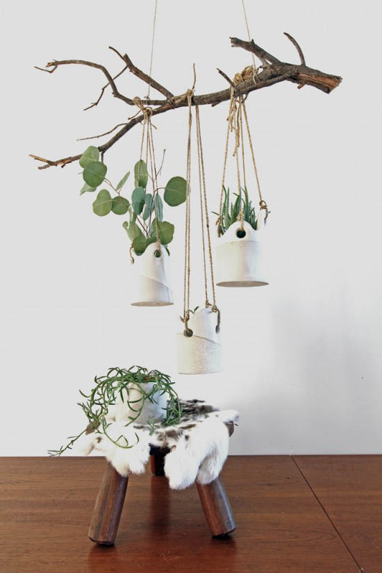 Tw workshop hand made stoneware hanging planter dover