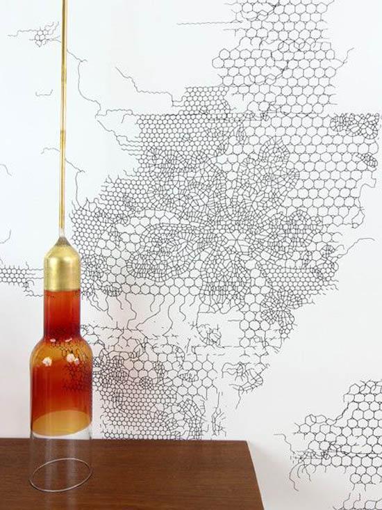 Tw workshop peeling lace wallpaper in black
