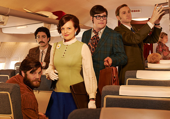 Peggy Olsen on the airplane with boys Mad Men season 7 photographer Frank Ockenfels