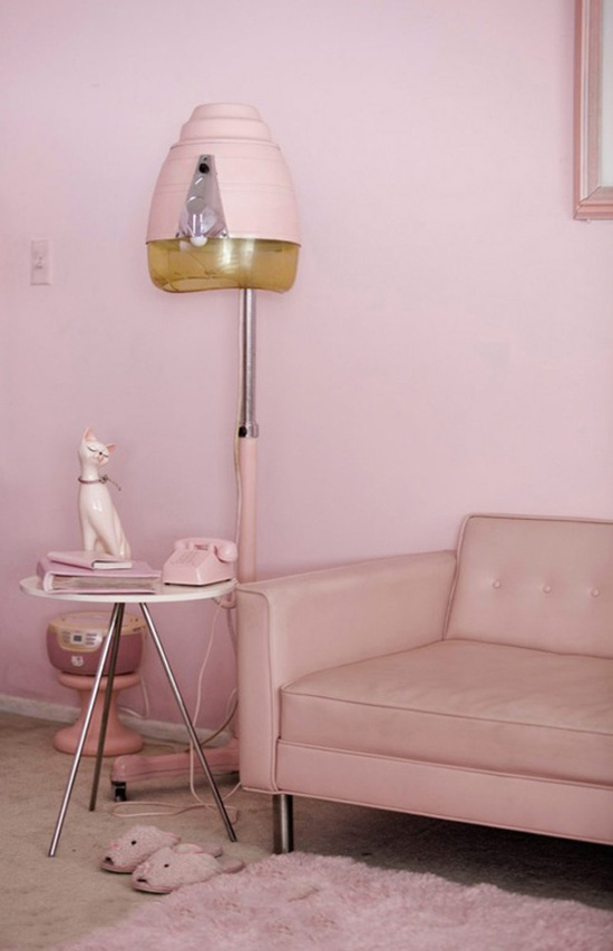 Pink vintage decor and hair drying lamp