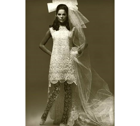 1960s bride veil and short dress vintage
