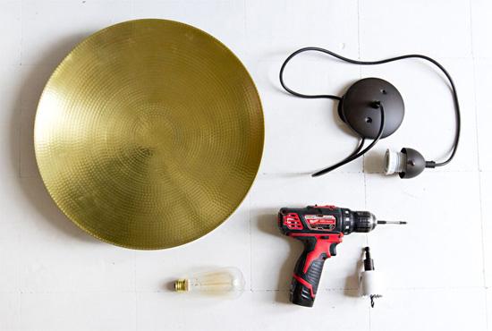 IKEA hack pendant saucer DIY lamp by a beautiful mess