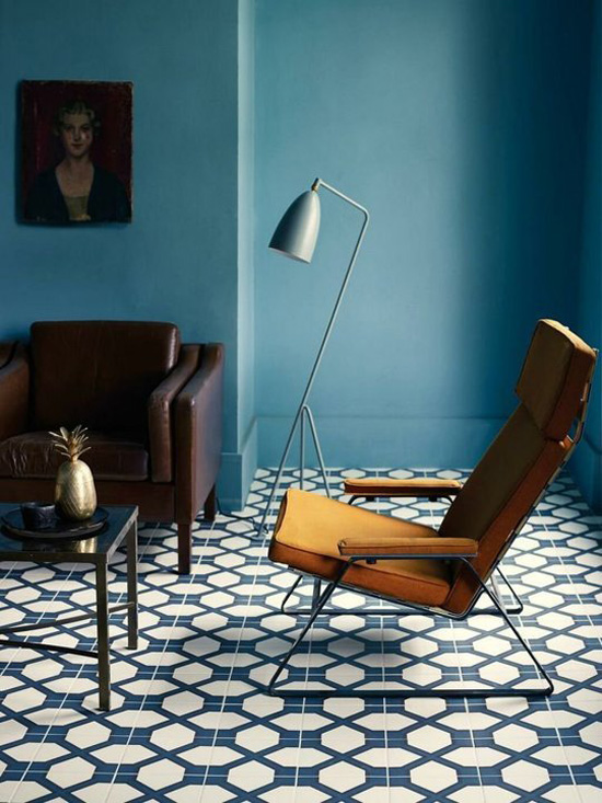 Greta Grossman floor lamp and Fired Earth tiles
