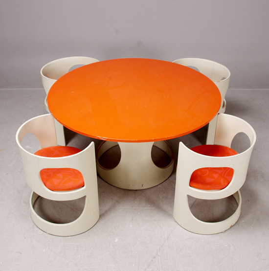 Arne Jacobsen orange and white dining suite 1968