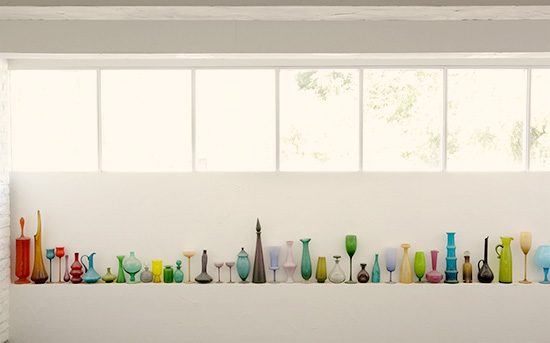 The Parker Hotel vintage colored glass vase collection