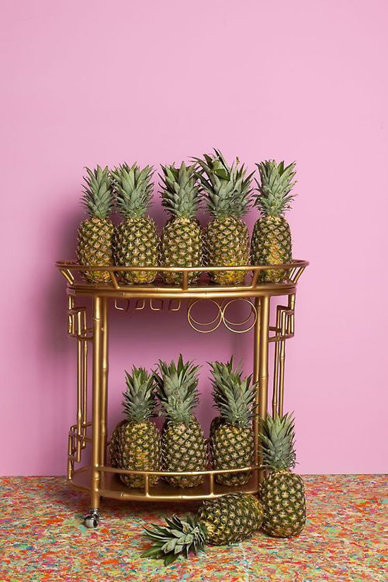 Pineapples and a bar cart