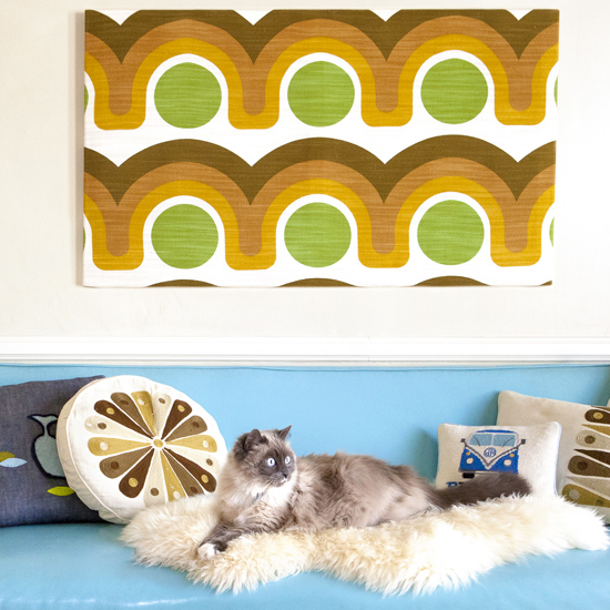 Panton inspired vintage wall hanging textile