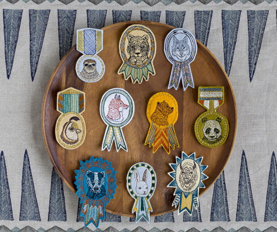 Coral and Tusk animal portrait embroidered badges