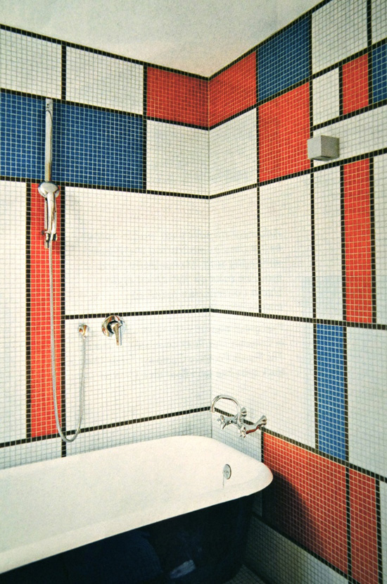 Mosaic Mondrian-inspired bathroom