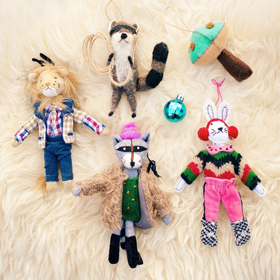 Racooon lion bunny and mushroom felt holiday oranaments