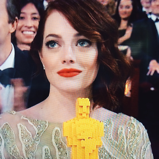 Emma Stone and her Lego Oscar