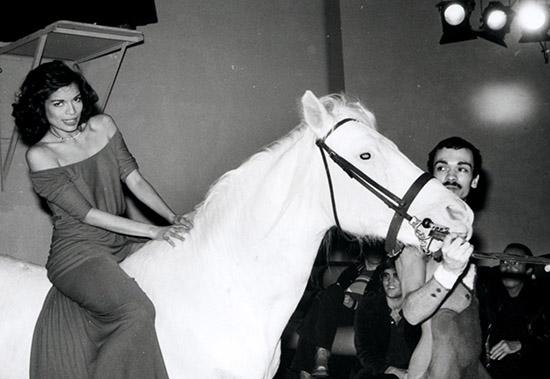 Bianca Jagger Studio 54 white horse birthday party