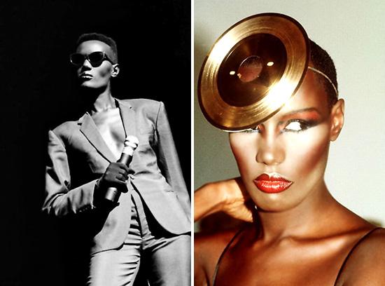 Grace Jones fierce style gold record hat