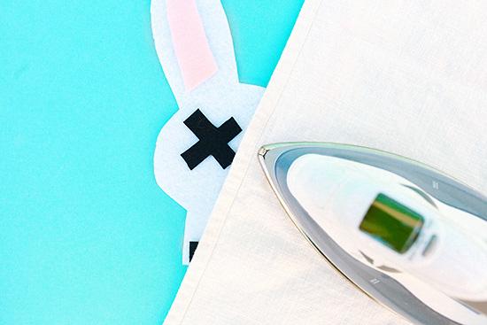 DIY bunny felt applique costume on sweatshirt skull 5