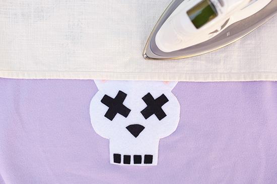 DIY bunny felt applique costume on sweatshirt skull 8