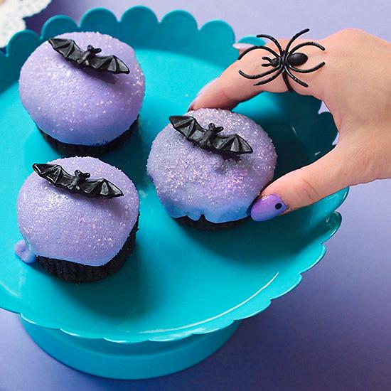 Pastel goth lavender bat Halloween cupcake