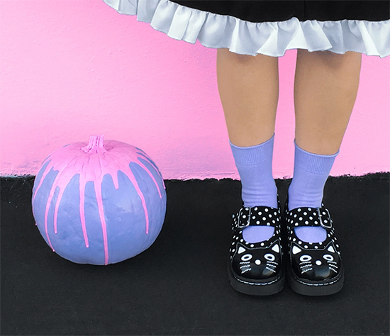 DIT pastel goth pumpkin halloween decor with cat head maryjanes