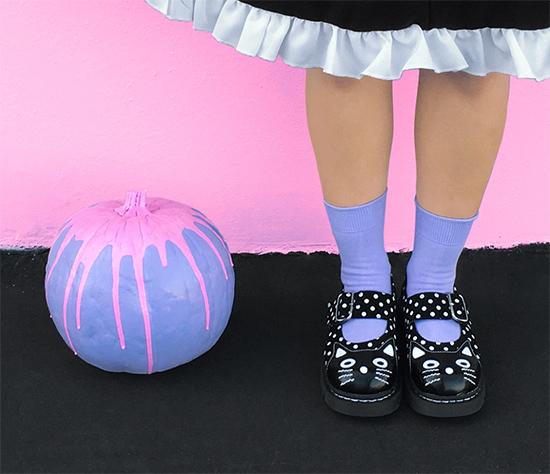 DIT pastel goth pumpkin halloween decor with cat head maryjanes