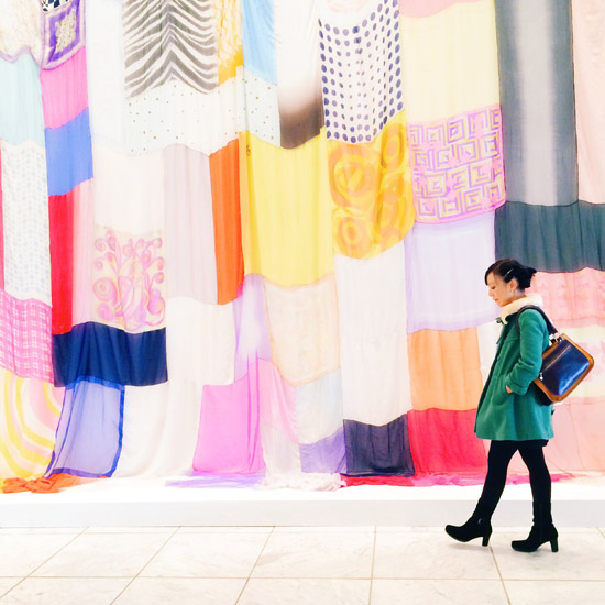 Jim Hidges chiffon and silk headscarves installation Heres Where We Will Stay 1995 Hammer Museum