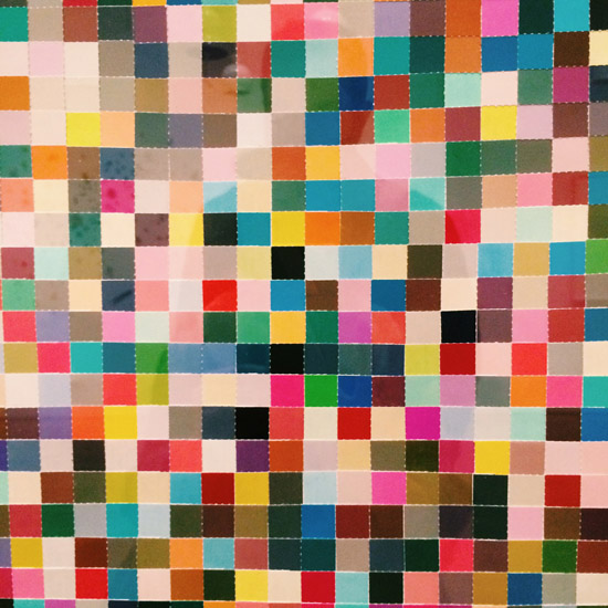 Jim Hodges As close as I can get detail 1998 Pantone color chips with adhesive tape art Hammer Museum