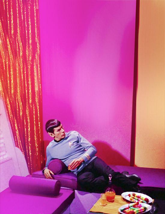 Leonard Nimoy Spock pink and purple 60s lounge