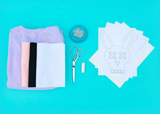 DIY bunny felt applique costume on sweatshirt-04-skull