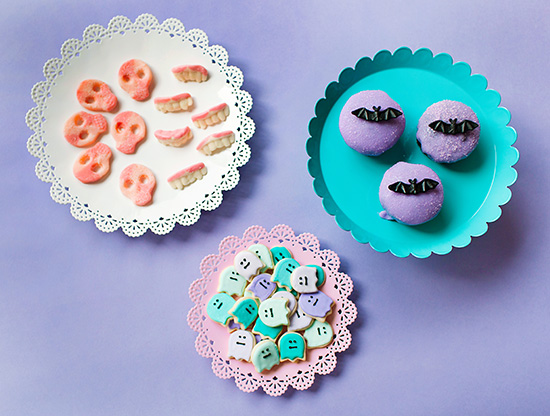 Pastel goth party desserts bat cucakes and ghost cookies