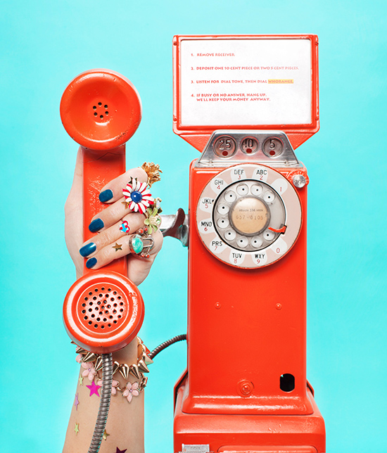 Orange vintage payphone phone