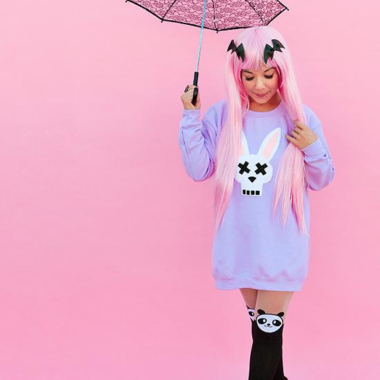 DIY bunny felt applique costume on sweatshirt