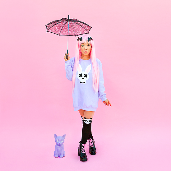DIY bunny felt applique costume on sweatshirt pastel goth