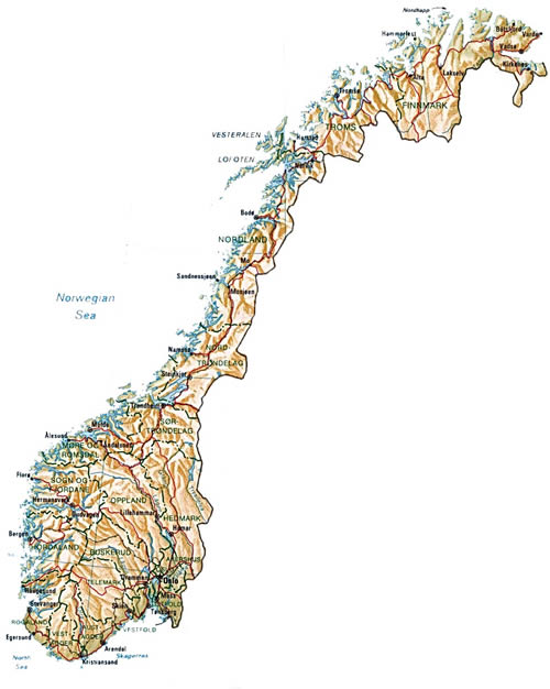 Norway Online Maps Geographical Political Road Railway - Norway highway map
